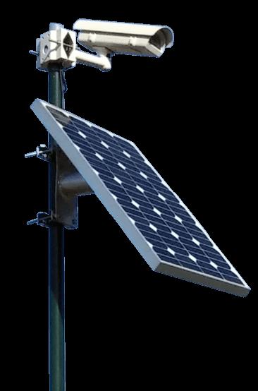 Foto de una cámara CCTV alimentada por un panel solar