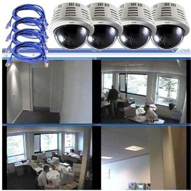 Cámaras CCTV en una oficina.