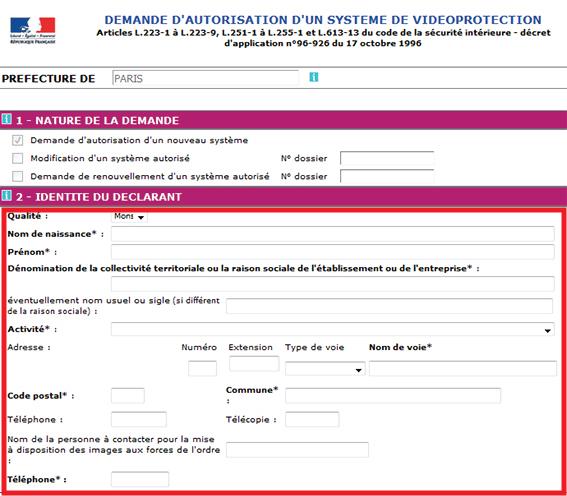 formulario de datos de contacto videovigilancia de la prefectura