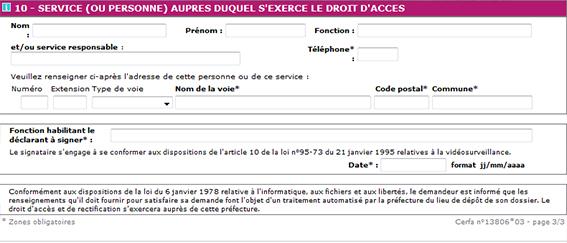 servicio de formulario de videovigilancia de la prefectura